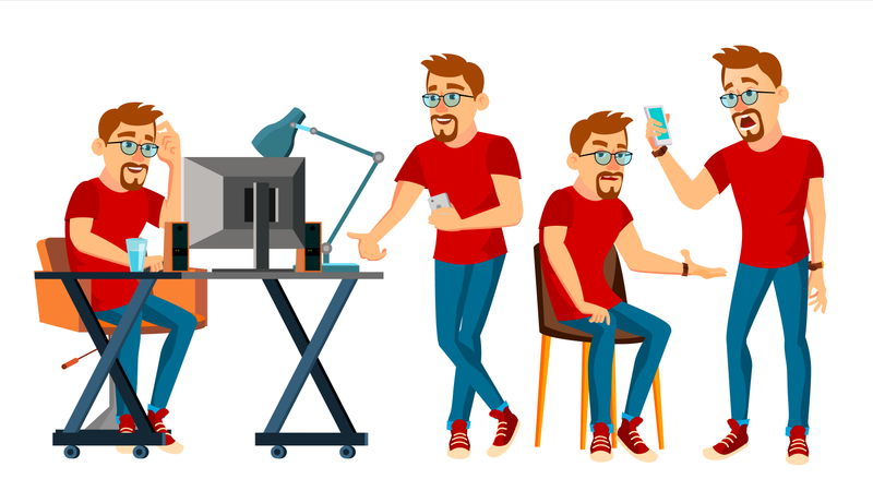 Business Man Working In Office Illustration