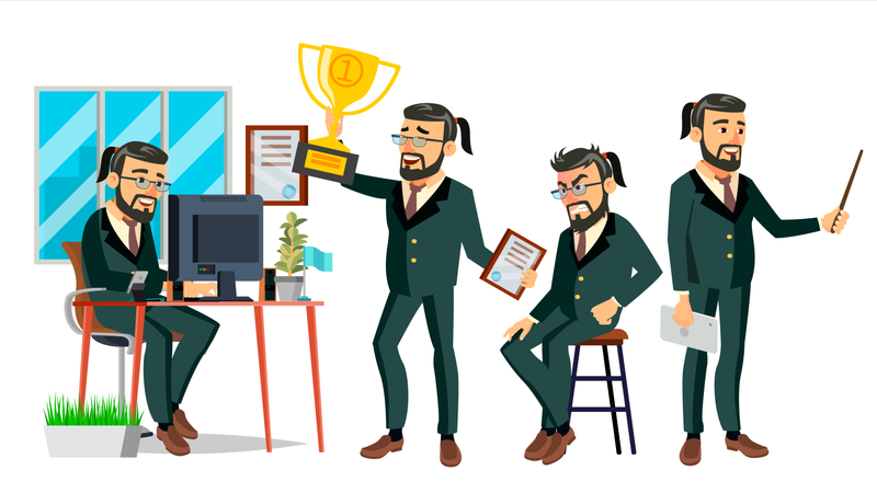 Business Man Working In Office With Winning Gesture Illustration