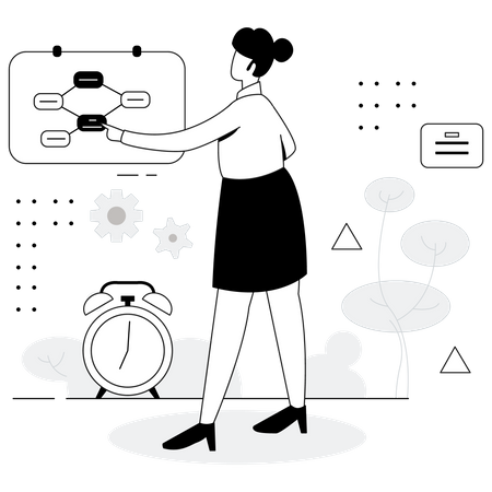 Business manager planning workflow Illustration
