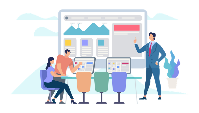 Business Meeting and Team working Illustration