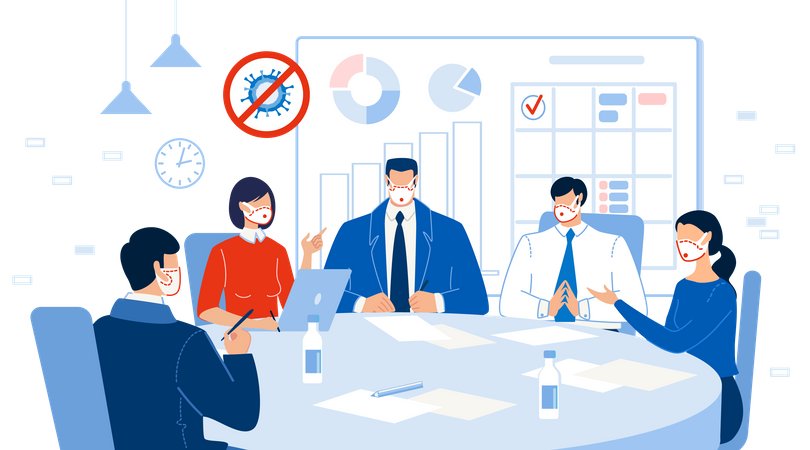 Business Meeting at Round Table during pandemic Illustration