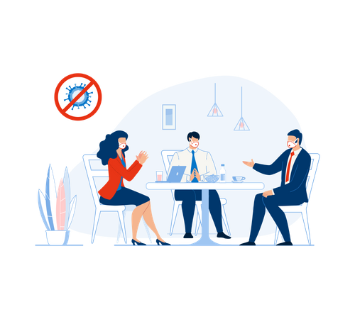 Business meeting during coronavirus pandemic Illustration