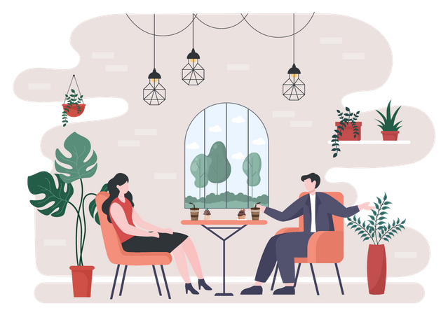 Business meeting in cafe Illustration
