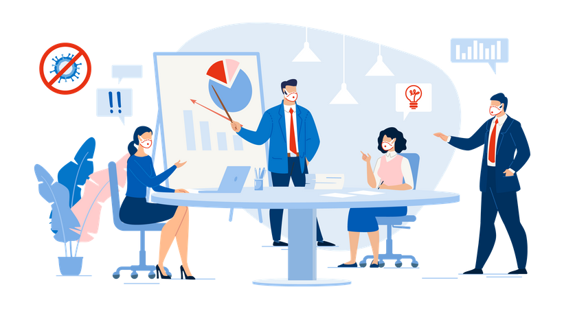 Business Meeting in Conference Room Illustration