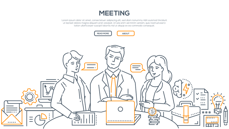 Business Meeting - Modern Line Design Style Illustration Illustration