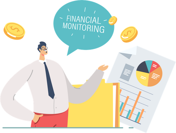 Business Meeting Pointing on Financial Monitoring Charts Illustration