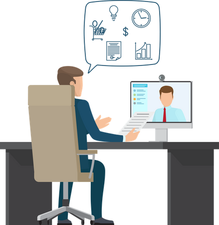 Business meeting - Video Conference Illustration