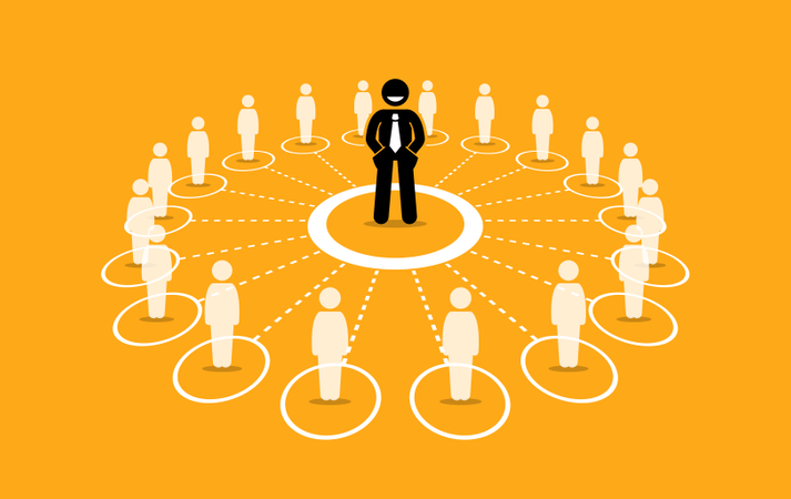 Business network and communication Illustration