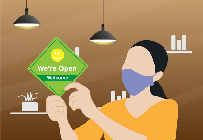 Business owner wearing protective face mask and hanging open sign at her restaurant Illustration