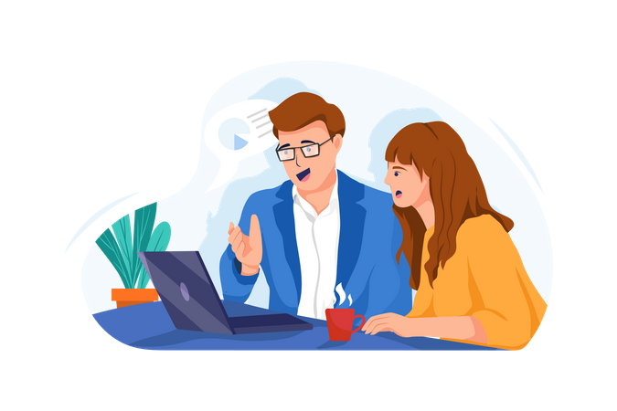 Business partners discussing about future goals Illustration