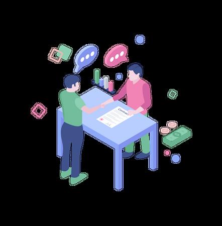 Business partners signing deal Illustration