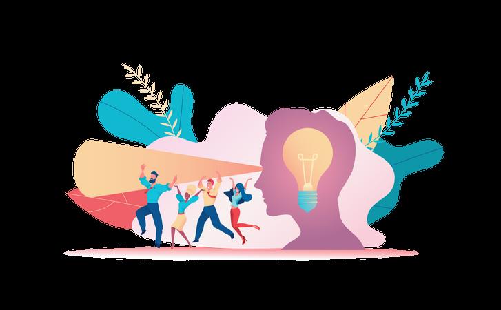 Business partners with creative marketing idea Illustration