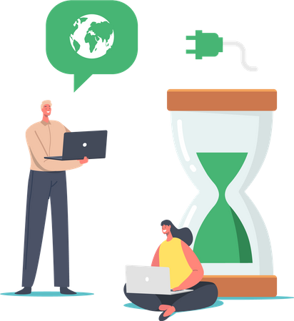 Business People at Huge Hourglass with Green Sand and Earth Globe Illustration