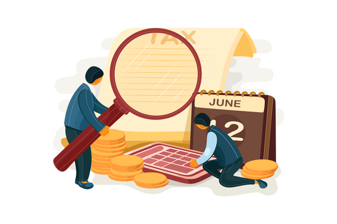 Business people calculating tax Illustration