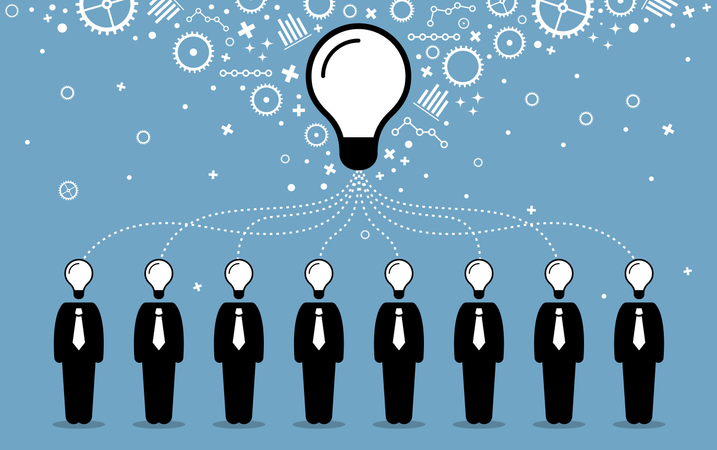 Business people combining their ideas, minds, and thoughts to create a bigger and better idea Illustration