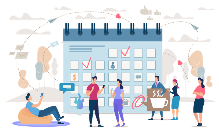Business people, Company Employees Gathering in Office, Planning Strategy, Adding Important Tasks to Schedule, Set Priorities in Work Illustration