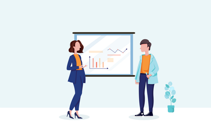 Business people discussing overview presentation Illustration