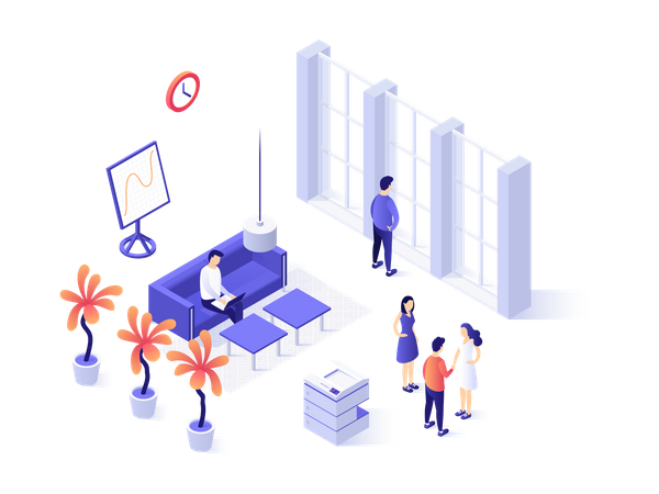 Business People doing meeting Illustration