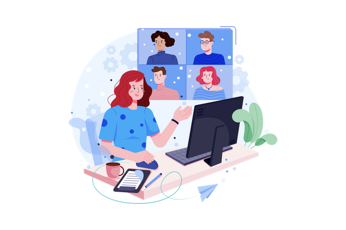 Business people doing online meeting Illustration