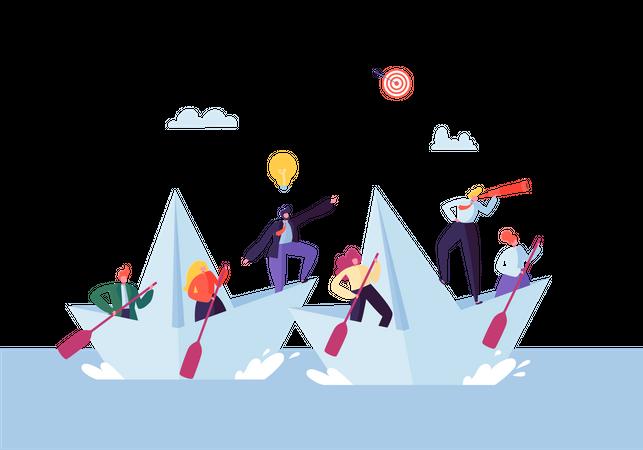 Business People Floating on a Paper Ship - teamwork concept Illustration