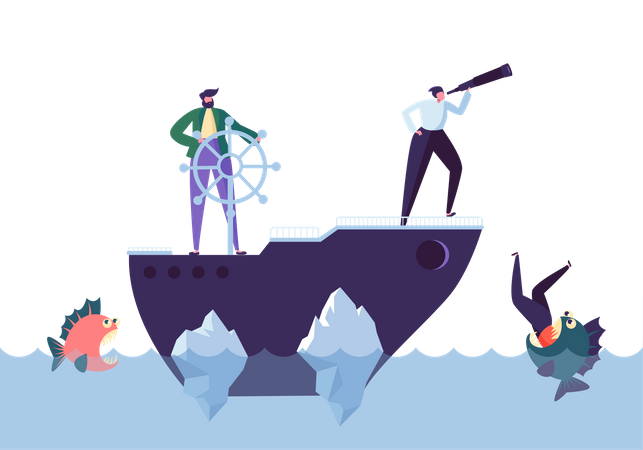 Business People Floating on the Ship in the Dangerous Water with Sharks - business risk concept Illustration
