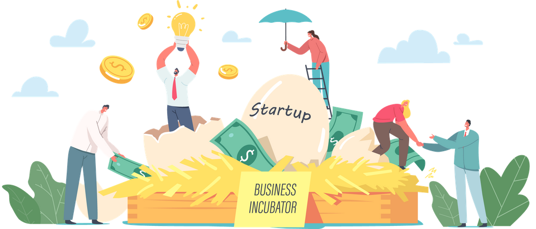 Business people Growing Startup Project Illustration
