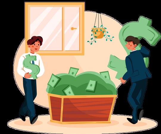 Business people making money Illustration