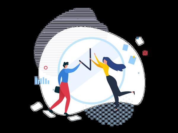 Business people managing time Illustration