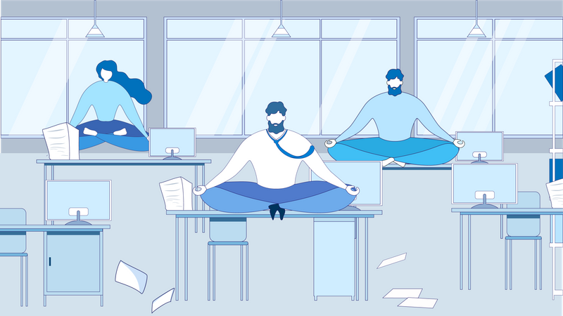 Business People Meditate on Table at Office Workplace Illustration