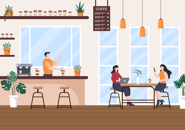 Business people meeting in cafe Illustration