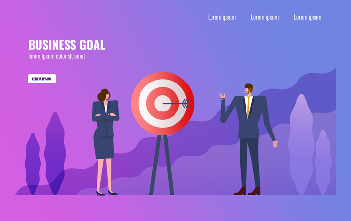 Business people planing about business target and business goal Illustration