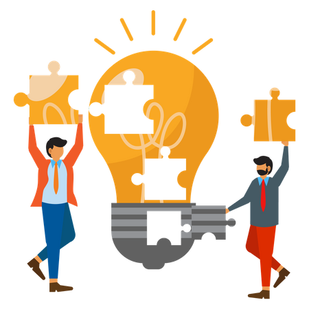 Business people put together puzzles to get ideas Illustration