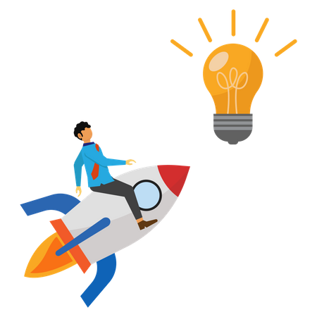 Business people ride rockets for ideas Illustration