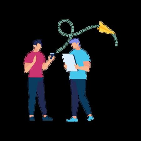 Business People talking holding gadgets Illustration