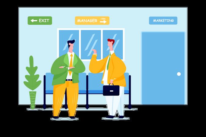 Business people talking in hallway Illustration