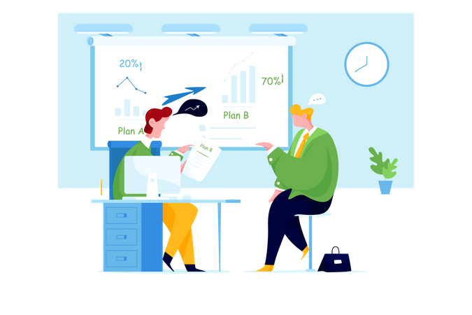 Business people talking in office Illustration