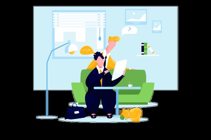 Business people talking in room Illustration
