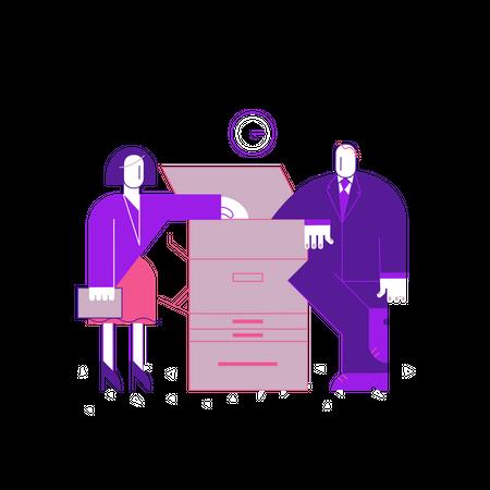 Business people talking near Xerox machine Illustration