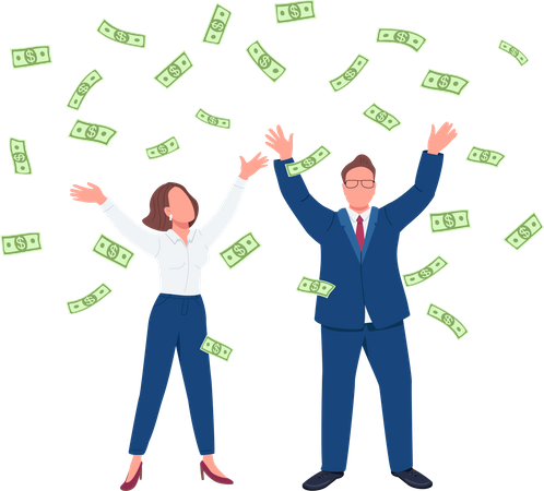 Business people throwing cash up Illustration