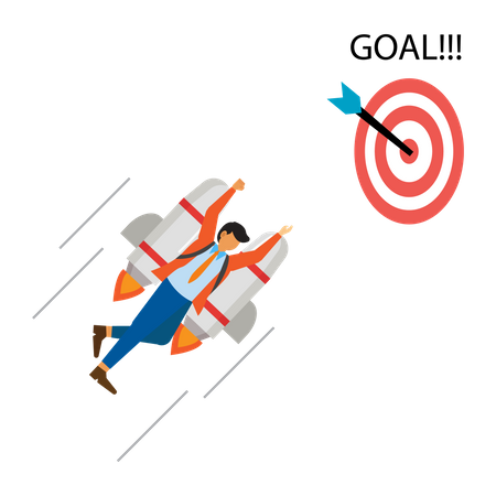 Business people use jetpacks to achieve goals Illustration