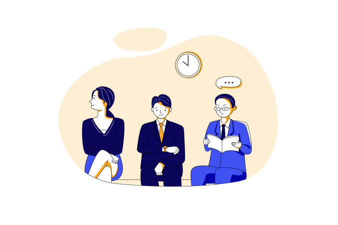 Business people waiting for job interview Illustration