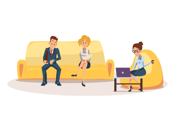 Business People Waiting for Job Interview on Sofa Illustration