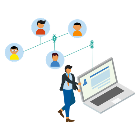 Business people with a network Illustration