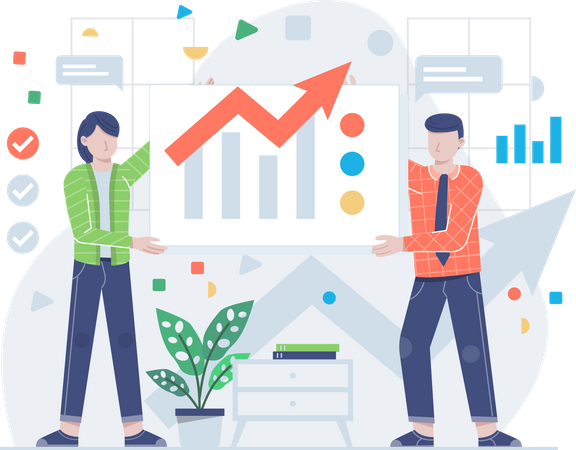 Business people with chart Illustration