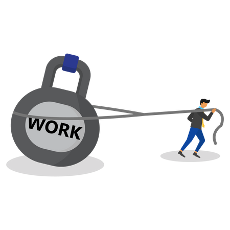 Business people with workload Illustration