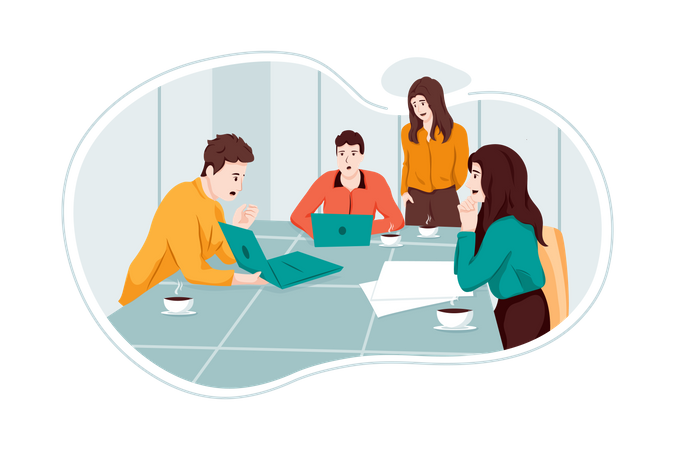 Business people working in office Illustration
