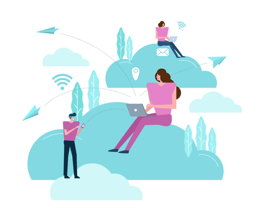 Business people working on a cloud Illustration