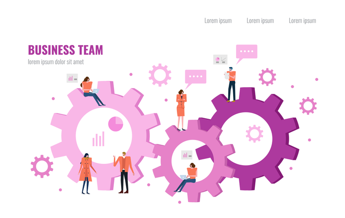Business people working on a cloud and gears Illustration