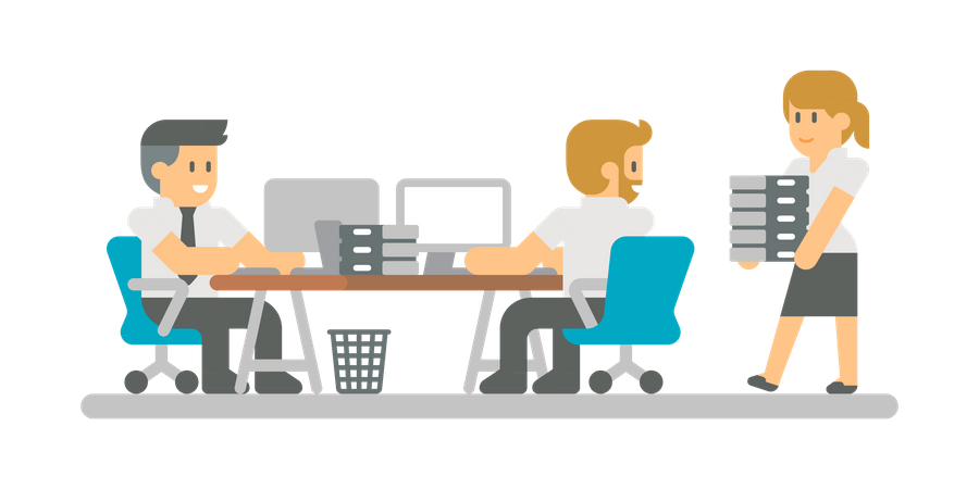 Business People working on laptop and lady giving more work Illustration