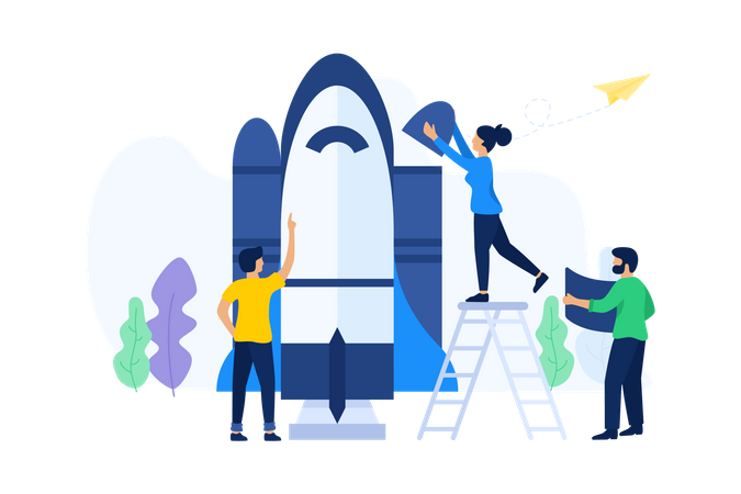 Business people working on startup Illustration